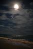 Riviera Maya Full Moon Beach at Night Marked
