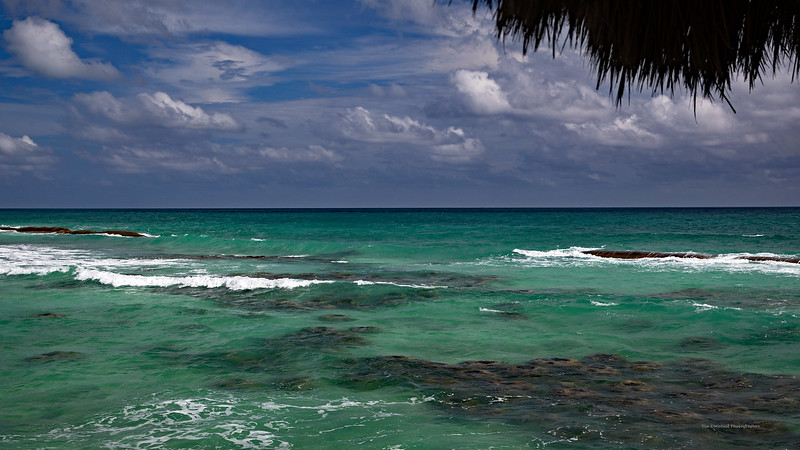 Riviera Maya Ocean and Sky With Thatch Marked