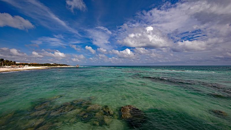 Riviera Maya Sea & Clouds With Palapa Ultra Wide Marked