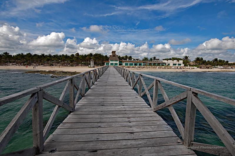 Mayan Palace Boardwalk From Palapa Marked