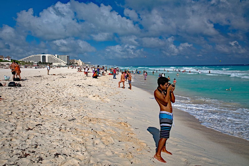 Cancun Delfines Beach Shooting the Waves Marked