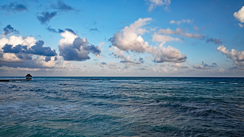 Riviera Maya Ocean With Palapa Wide Marked