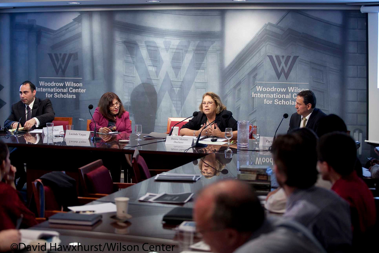 US-Mexico Cooperation Pillar IV: Building Strong and Resilient Border Communities<br /> <br /> Speaker(s): Eric Olson, Kermit Moh, Susan Snyder, Diana Negroponte, Denise Moreno Ducheny, Carlo Arze, Lucinda Vargas, Edgar Ruiz