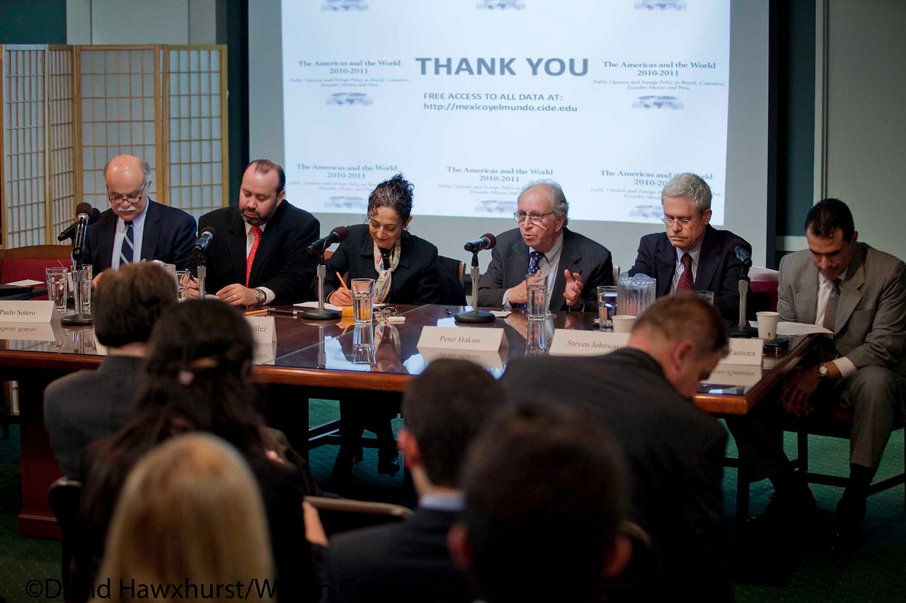 The Americas and the World: Public Opinion and Foreign Policy in Brazil, Colombia, Ecuador, Mexico and Peru<br /> <br /> Speaker(s): Guadalupe Gonzalez, Jorge Schiavon, Peter Hakim, Kevin Casas-Zamora, Steven Johnson, Andrew Selee