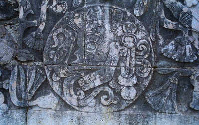 Skull with Mohawk, Chichen Itza Ballcourt, Mexico - Mexico photography wall art