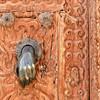 A beautiful door and door knocker.