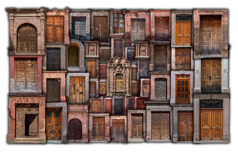 Collage of doors (inspired by Pepe Soho)