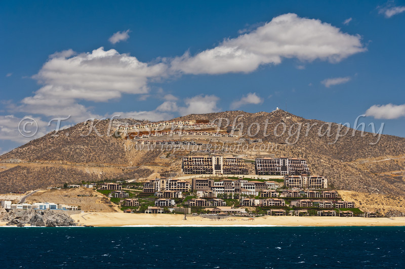 Resorts and housing developments on the hills near Cabo San Lucas, Baja California Sur, Mexico.