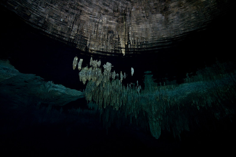 Stalactites extend down into the water.