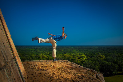 I Believe I can Fly - on top of Great Pyramid of Kukulkan at Dawn - Chichen Itza, Yucutan, Mexico
