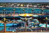 The pool deck of the Norwegian Dawn cruise ship in the port of Cozumel, Mexico.