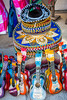 Mexican sombreros and guitar souvenirs in the shops of Cozumel, Mexico.