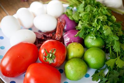 Ingredients for Yum Kai Dao, a Thai fried egg salad.