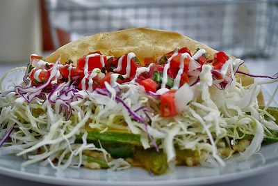 Close up of a taco from Baja Takeria in San Pancho, Mexico.