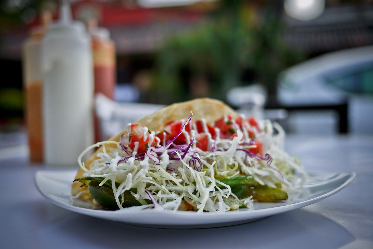 A pretty vegetarian taco from Baja Takeria