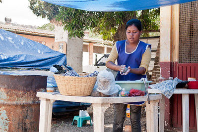 Learning how to make blue corn tortillas in from a street food vendor in Mexico.