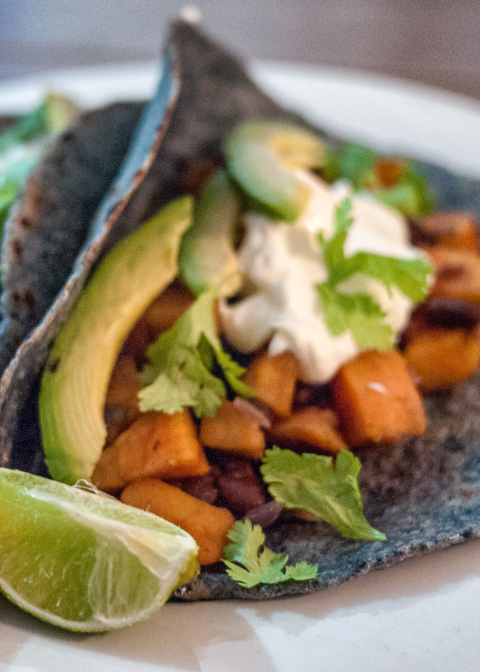 Simple sweet potato and black bean taco