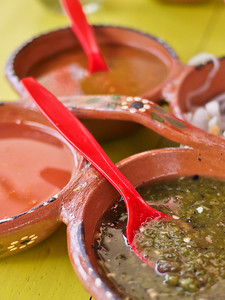 A pretty arrangement of salsas for the tacos and Mexican dishes.