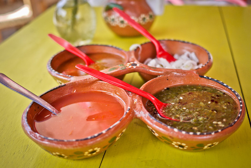 A pretty arrangement of salsas for the tacos and Mexican dishes so you can flavor to your own specifications.