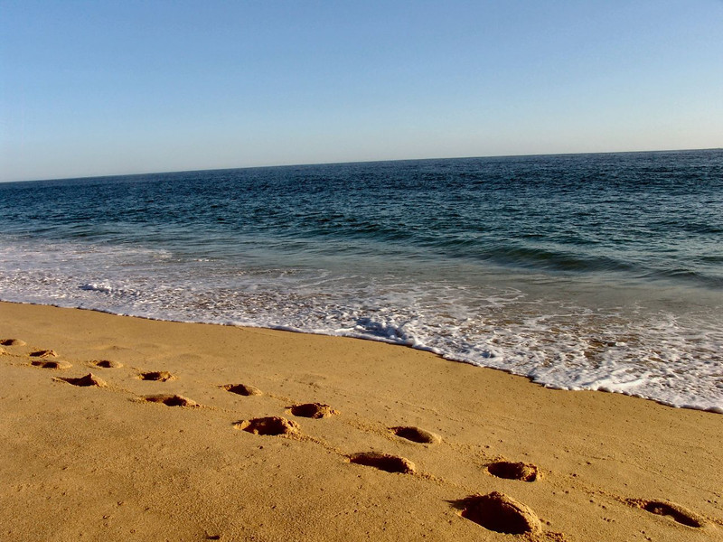 2-DSC00045 Surf and sand and footprints at a beach near Cabo San Lucas Mexico