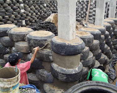 Wall Using Tires Under Construction in Mexico
