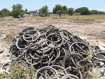 Discarded Rims of Tires Used for Building a Hybrid Home