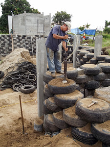 Tires Filled with Sand - An Alternative Building Material - 2