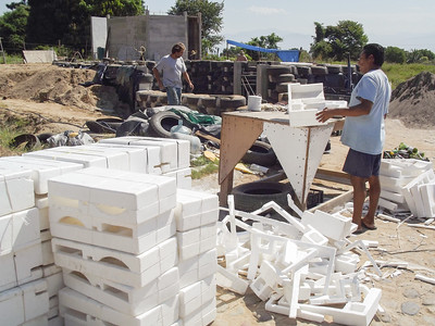 Preparing Styrofoam Packaging to Become Filler Material - 2