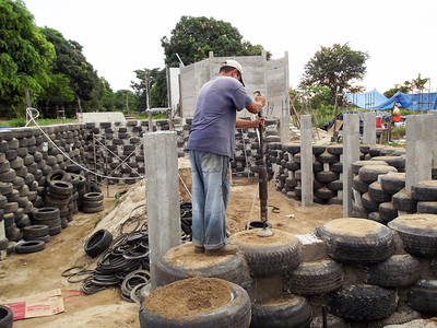 Hybrid Home Foundation and Basement Built with Tires