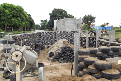 Construction of House Basement with Used Tires