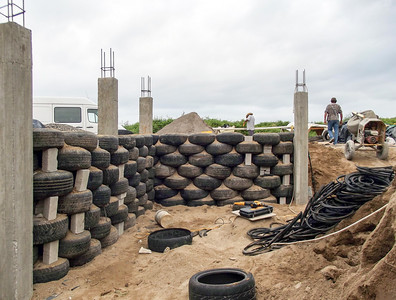 House Foundations and Basement Being Built with Used Tires