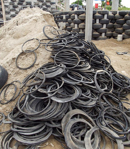 Rubber Rims of Tires in a Pile