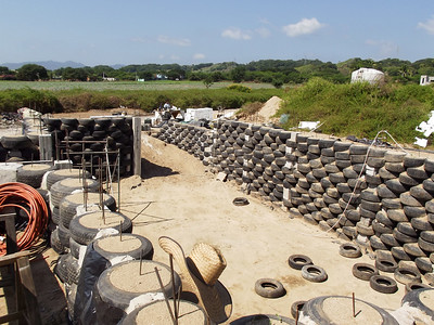 Basement and Foundation of Hybrid Home Made from Tires