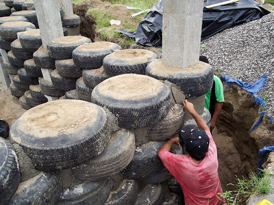 Tires as Building Material Reducing Usage of Concrete
