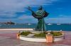 Jesús del Caracolon sculpture along the Malecon boardwalk in La Paz, Baja California Sur, Mexico.