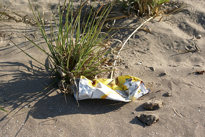 Chips or Crisps Wrapper on Beach