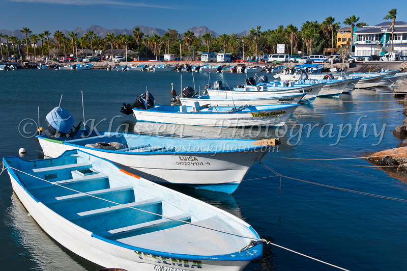 Colorful fishing boats in the port of Loreto, Baja California Sur, Mexico.