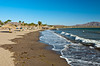 The beach and waves of the Sea of Cortez at Loreto, Baja California, Sur, Mexico.