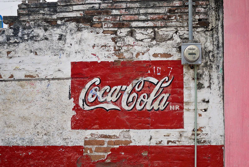 Weathered Coke advertisement in La Penita.