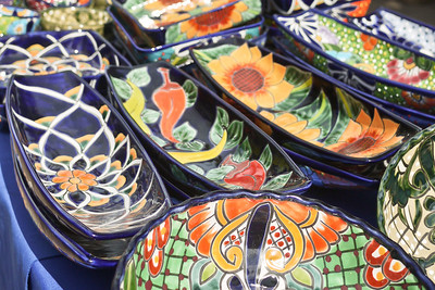 Mexican ceramic art at La Penita market.