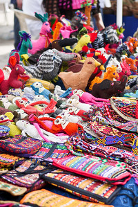 Traditional crafts and textiles at La Penita market.