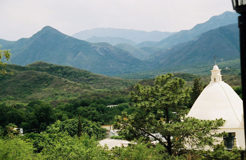 Looking towards the fold in the mountains where Cola de Caballo (Horsetail Falls) is (from Santiago)