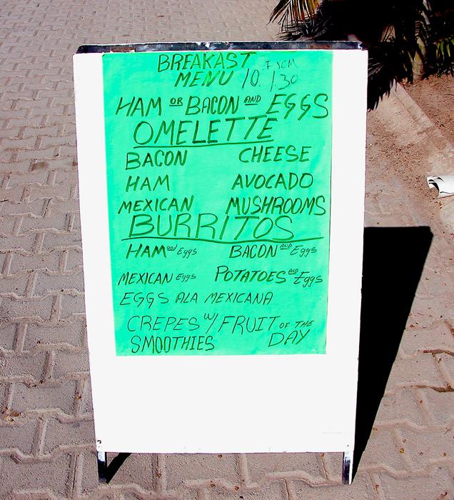 Senor Froys menu