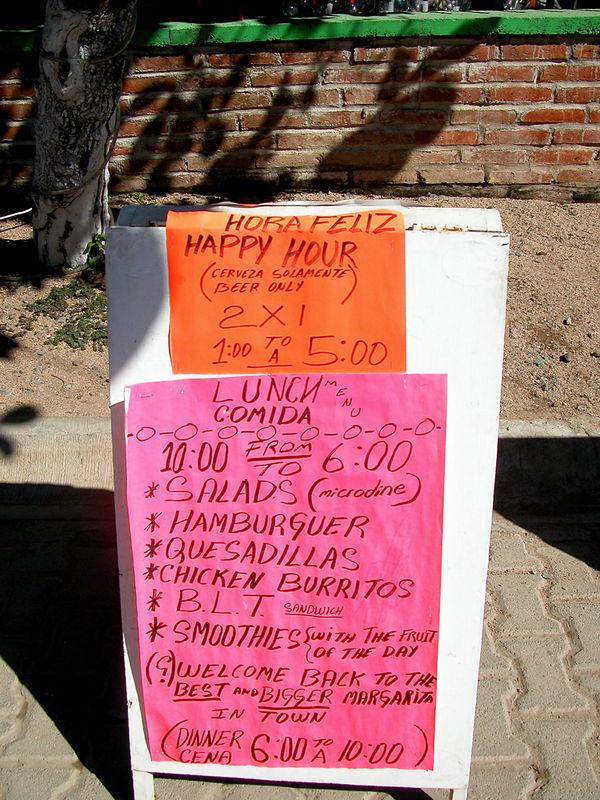 Senor Froys menu, excellent lasagna 100 pesos
