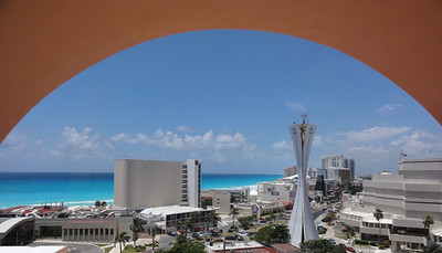 View of the Cancun hotel strip.