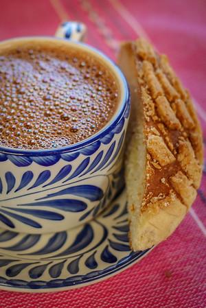atole and bread breakfast in oaxaca