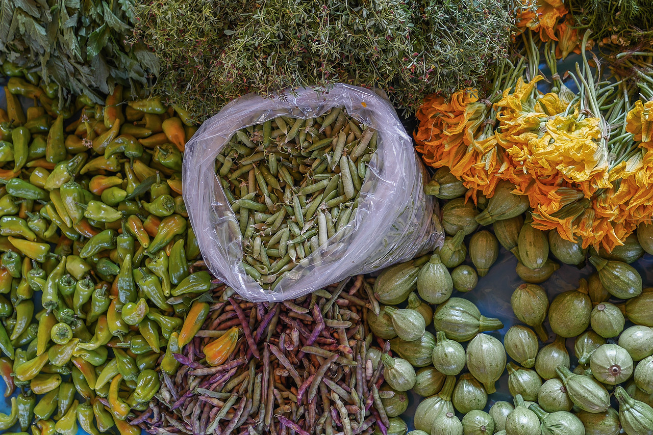 Fresh vegetables at the Teotitlan market outside of Oaxaca City, Mexico