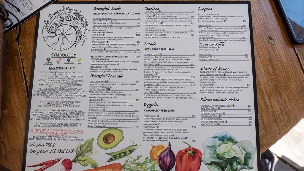 Vegan Playa Del Carmen: La Senda Vegana Restaurant Menu
