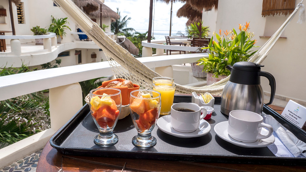 Vegan breakfast at Playa Palms Beach Hotel - Playa del Carmen, Mexico