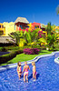 A decorative water canal at the Decameron resort in Puerto Vallarta, Mexico.
